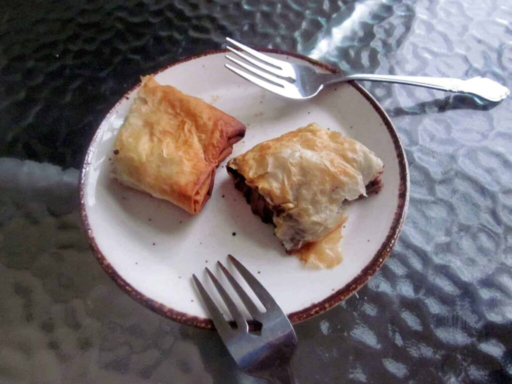 pear-chocolate strudel on a plate