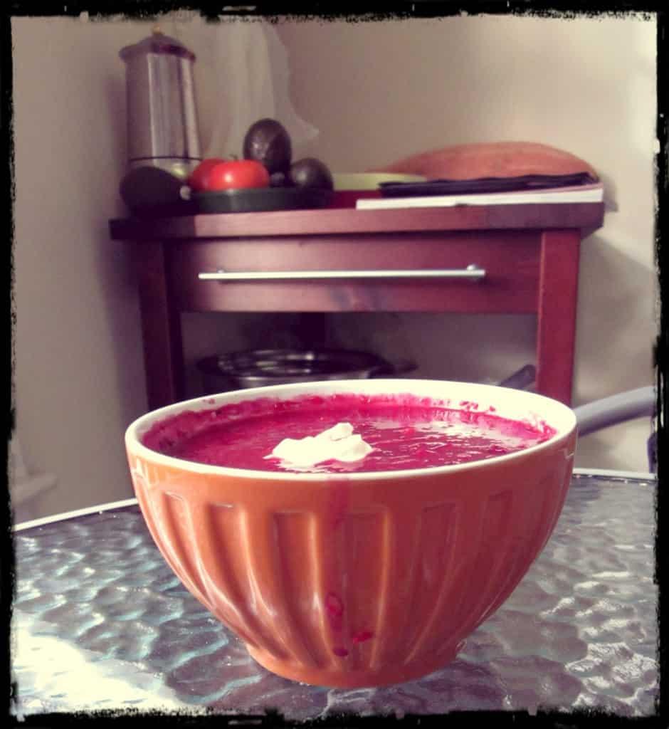 Beet borscht, served