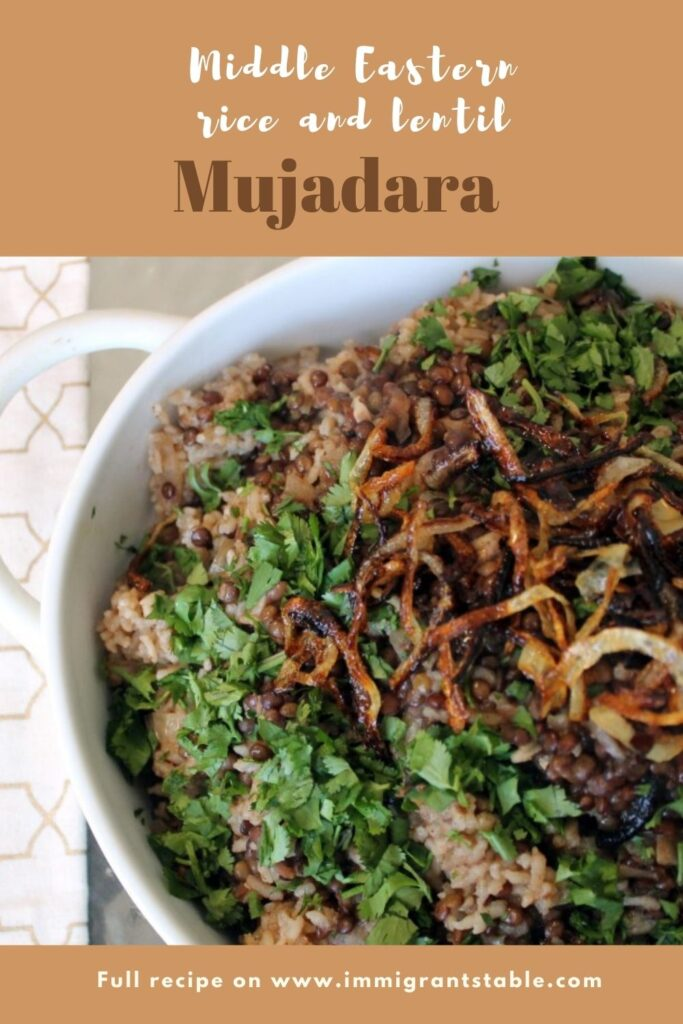 Pinterest graphic of Middle Eastern Mujadara