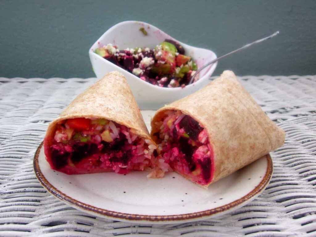 beet, avocado and feta salad lunch