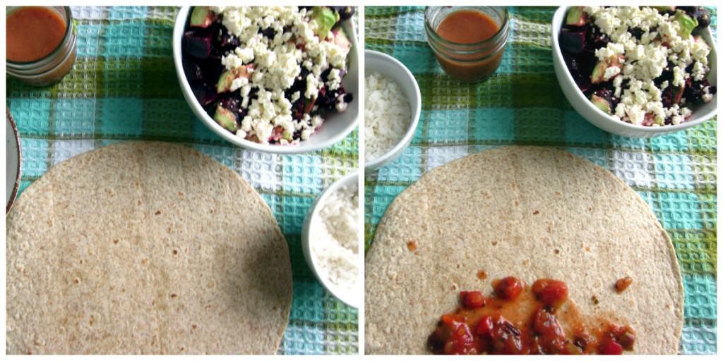 beet, avocado and feta salad wrap assembly