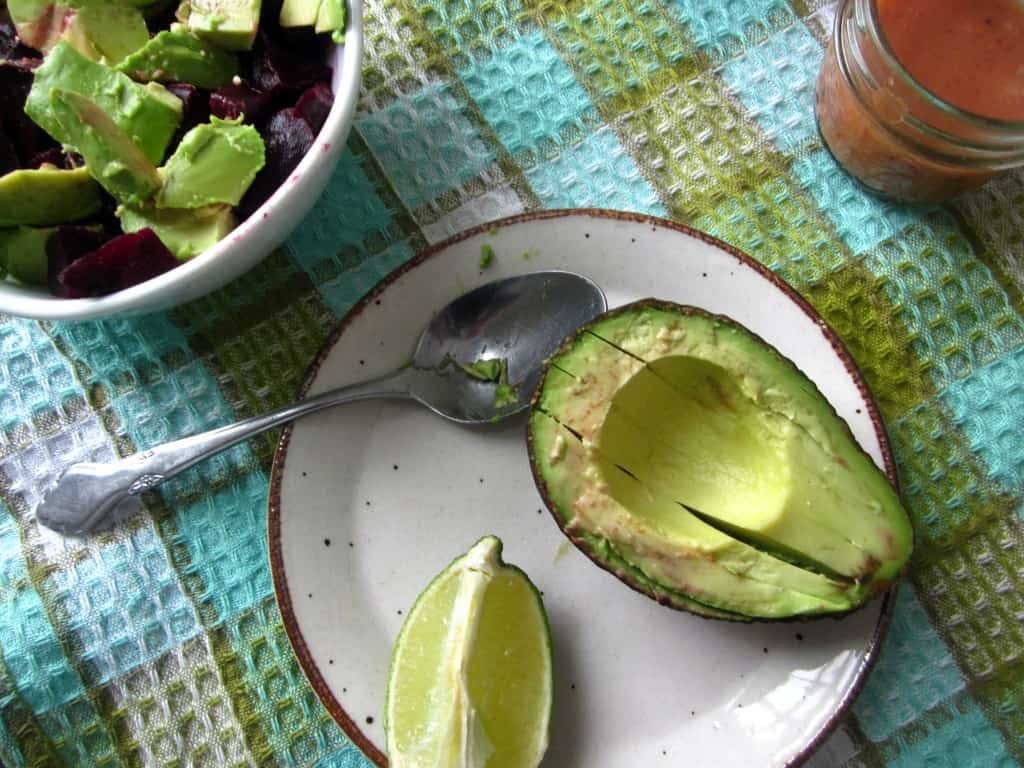 beet, avocado and feta salad
