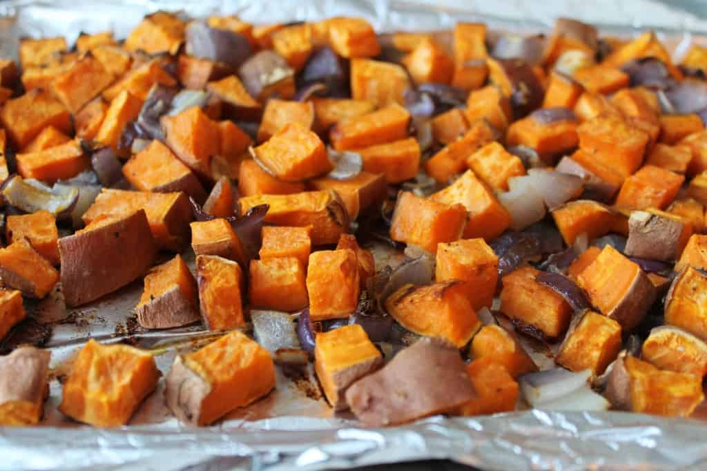 roasted sweet potato salad out of the oven