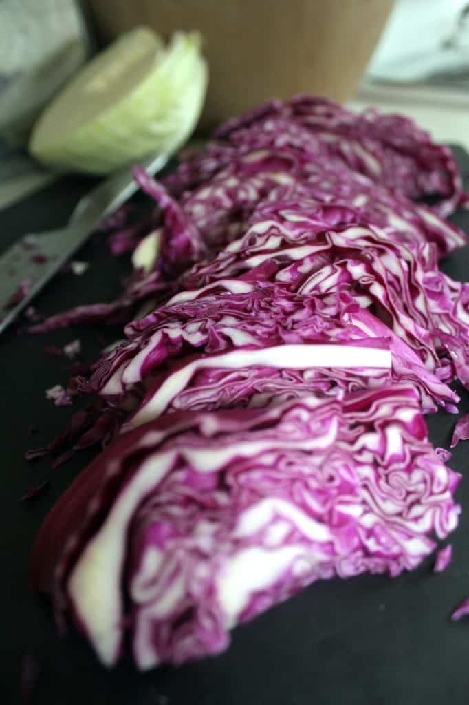 chopped cabbage for quick-pickled sauerkraut