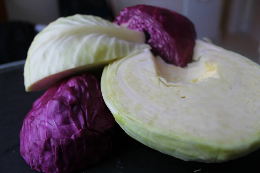 heads of cabbage for quick-pickled sauerkraut
