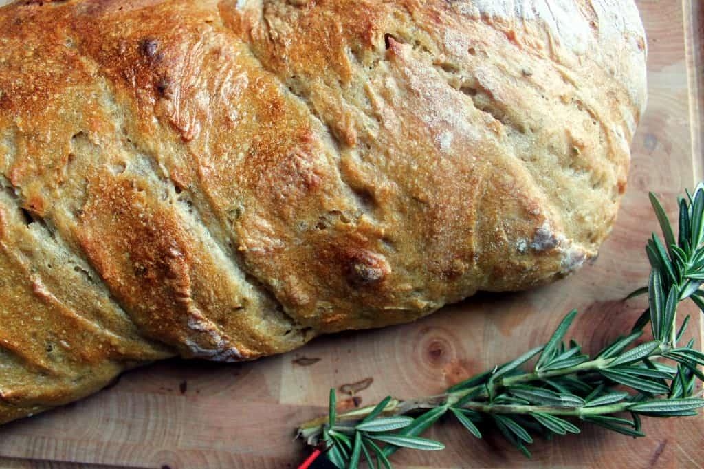 rosemary sourdough bread close-up