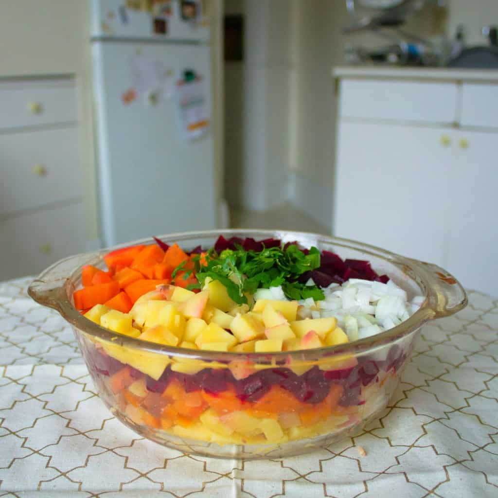 Russian root vegetable salad is almost ready