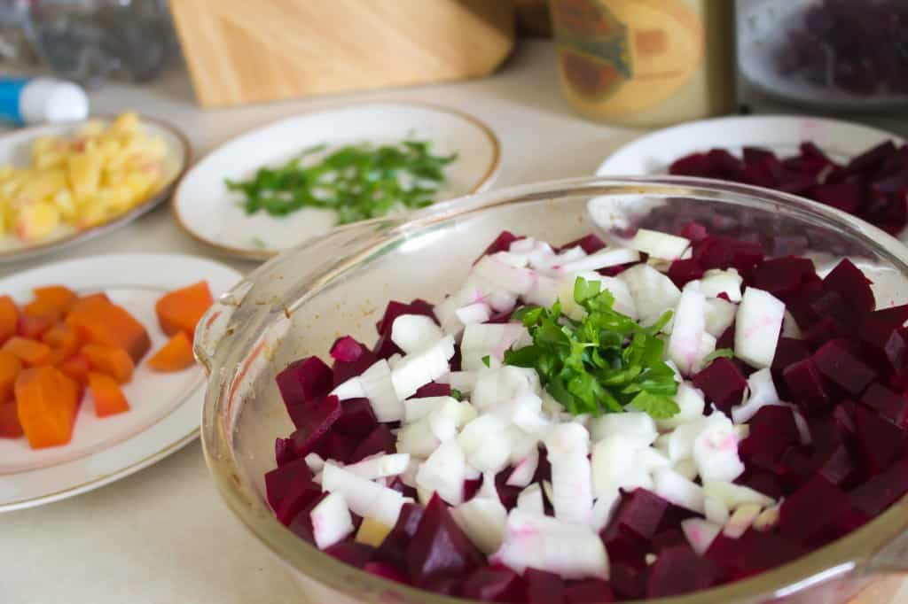 Russian root vegetable salad veggies for assembly