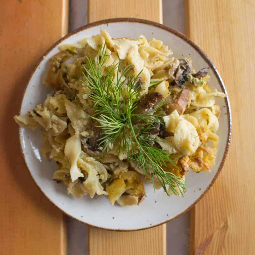 Mushroom and leek kugel on a plate
