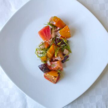Russian marinated beet salad with dill