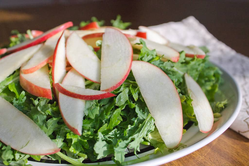 Apple and greens salad left