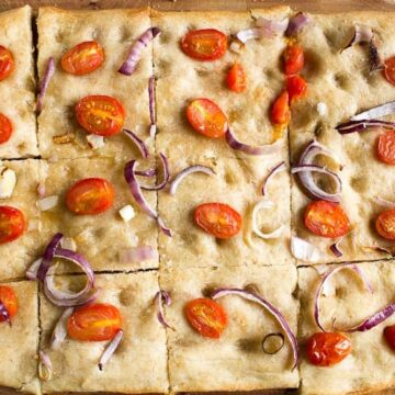 Sourdough focaccia with tomatoes and onions