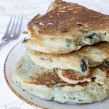 Blueberry sourdough pancakes
