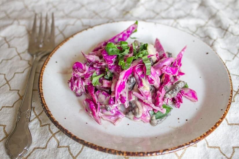 Purple cabbage and pickled mushroom salad 9