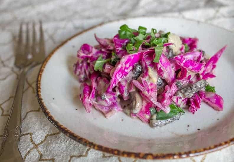Purple cabbage and pickled mushroom salad 13