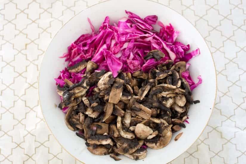Purple cabbage and pickled mushroom salad 4