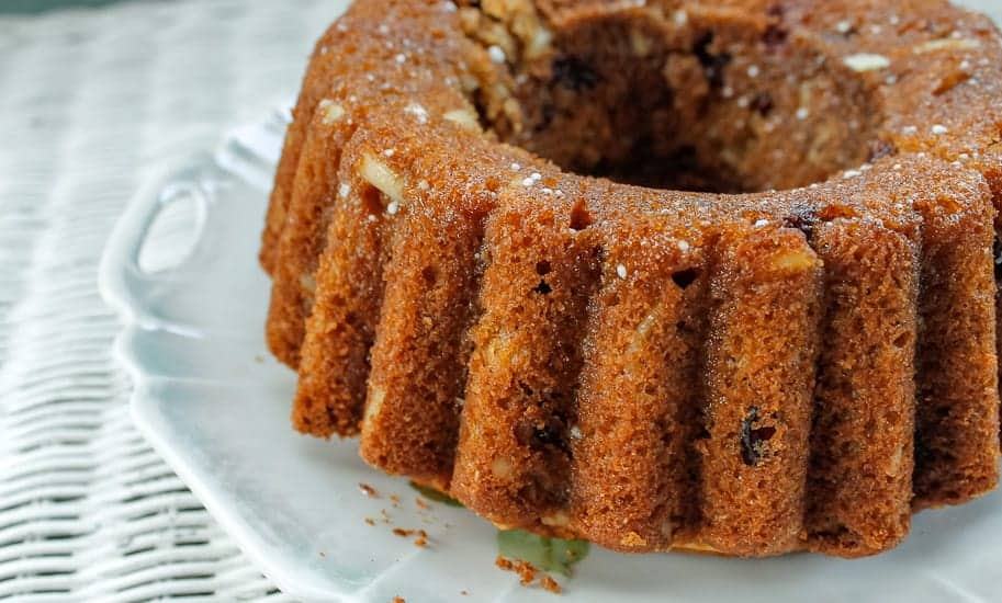 almond cranberry cake side view 3