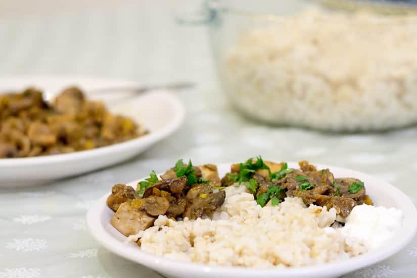 Tofu in creamy zucchini mushroom sauce 12