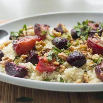 Roasted beet and plum salad
