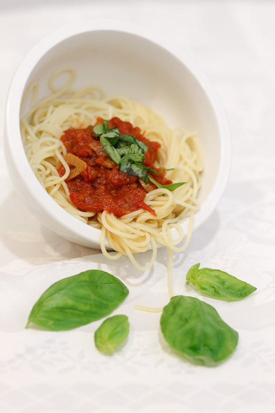 Bowl of chunky tomato sauce