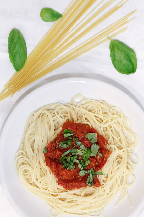 Plate of chunky tomato sauce
