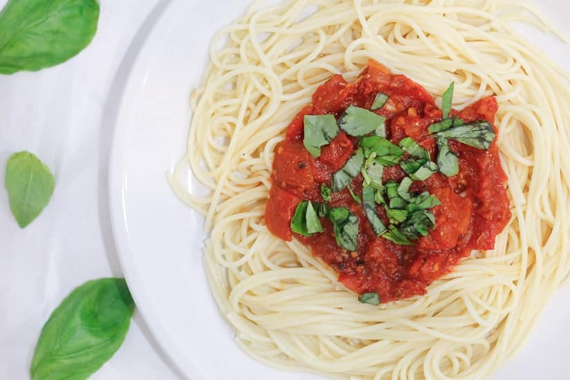 Plate of chunky tomato sauce for canning