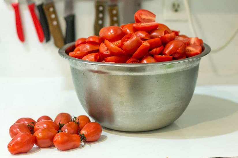 Tomatoes for chunky tomato sauce