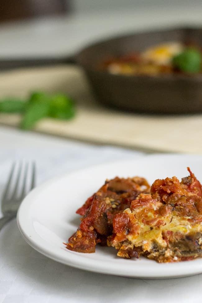 eggplant shakshuka serving on plate