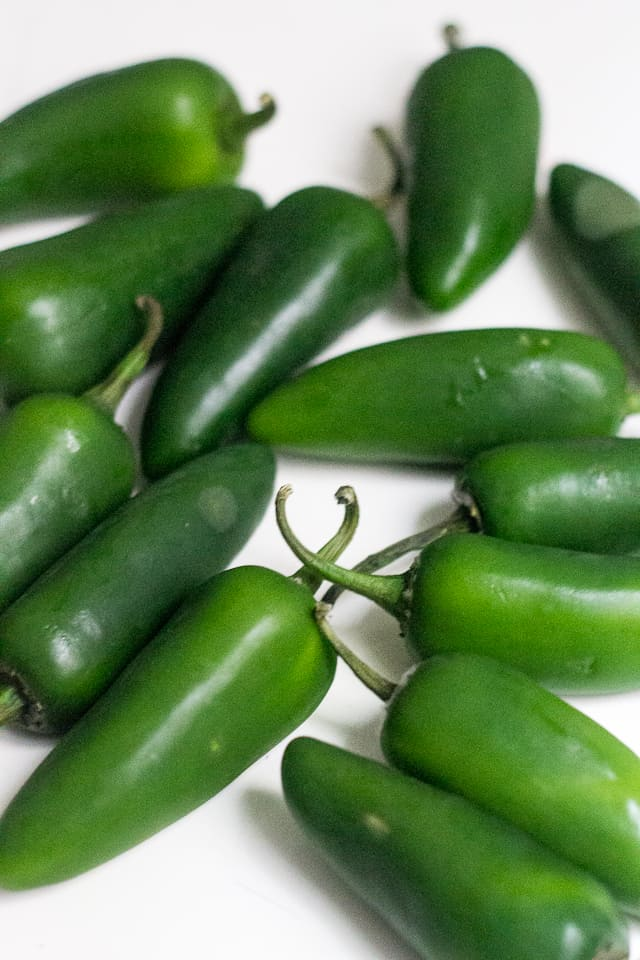 Quick-pickled jalapeno peppers
