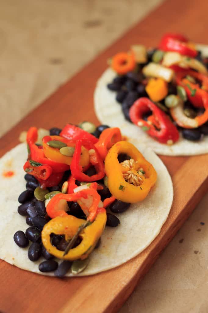 Black bean and sweet pepper salsa tacos
