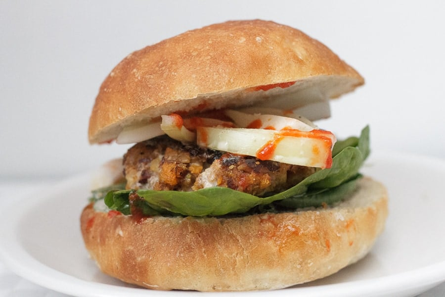 Roasted garlic and yam burgers with a Tamari almond coating