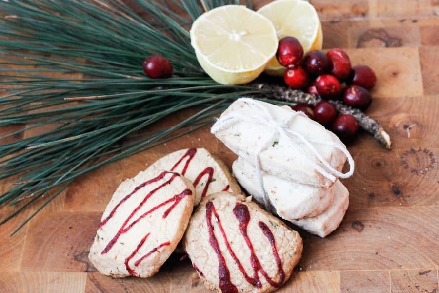 Lemon rosemary shortbread cookies,