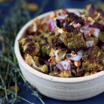 Roasted green cauliflower salad