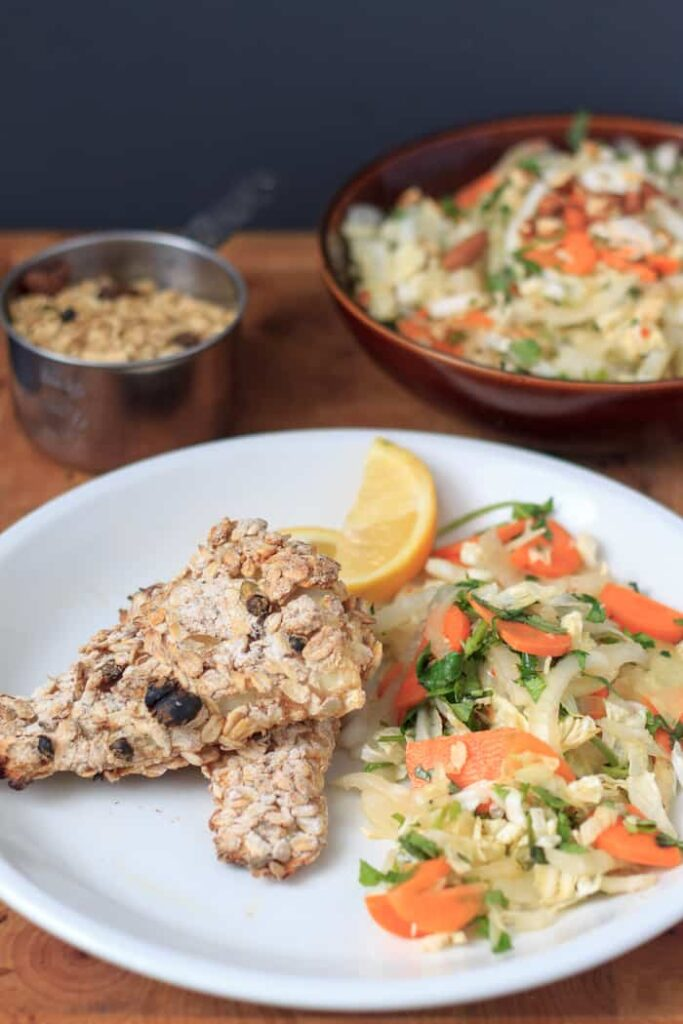 baked oat-crusted cod fillets