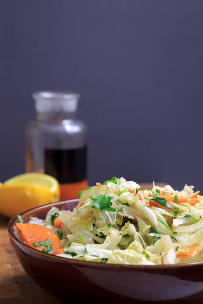 Hot and sour shredded Napa cabbage salad
