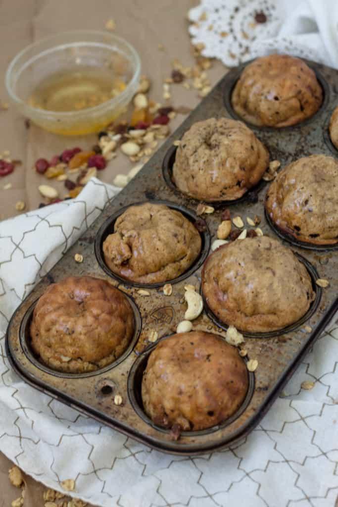 Dried fruit and granola muffins with a honey-yogurt glaze