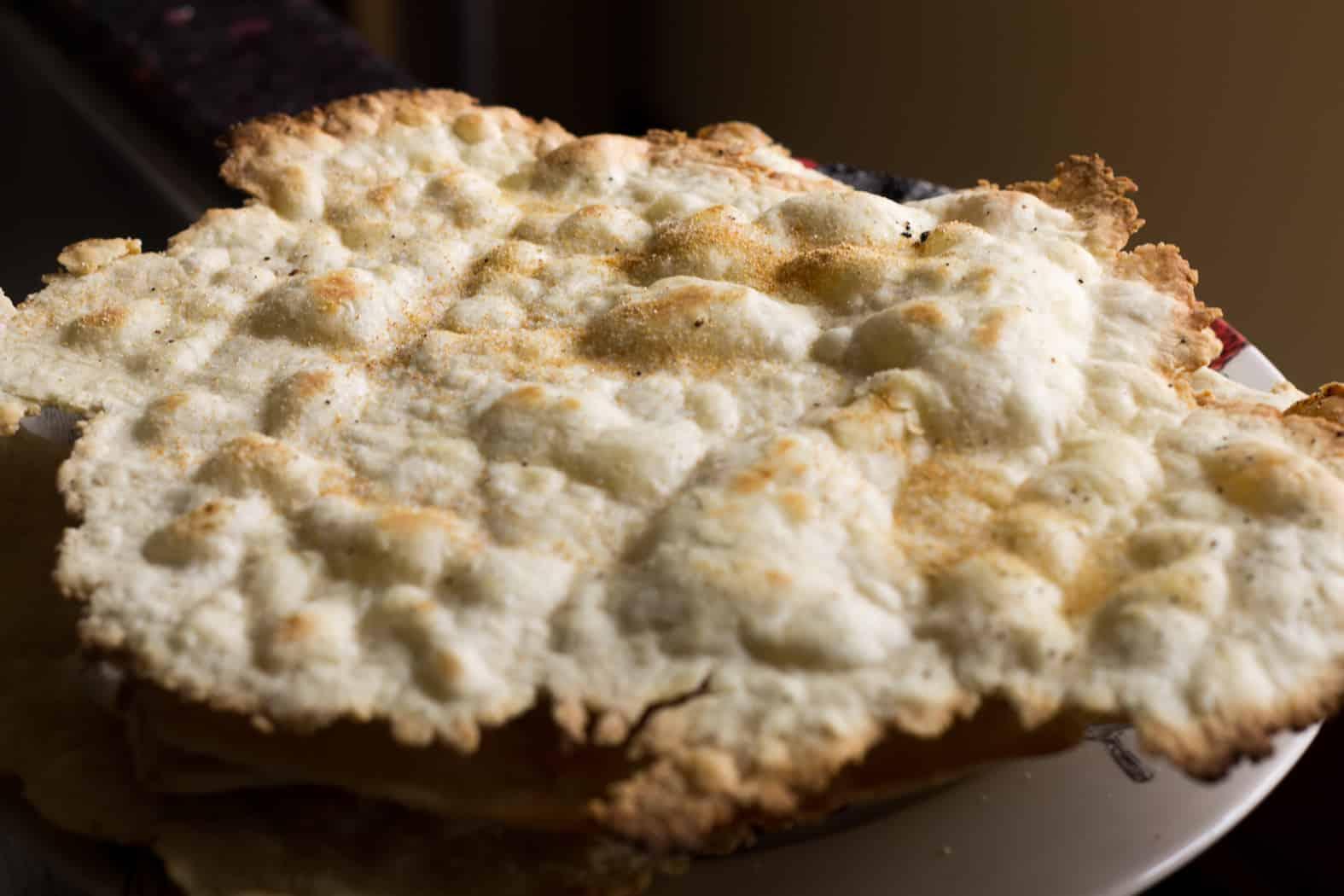 Homemade matzo cracker