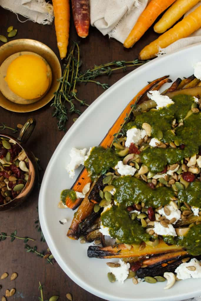 Blog146_Img12_Middle Eastern roasted carrots with olives, harissa, preserved lemon and Natursource salad topper
