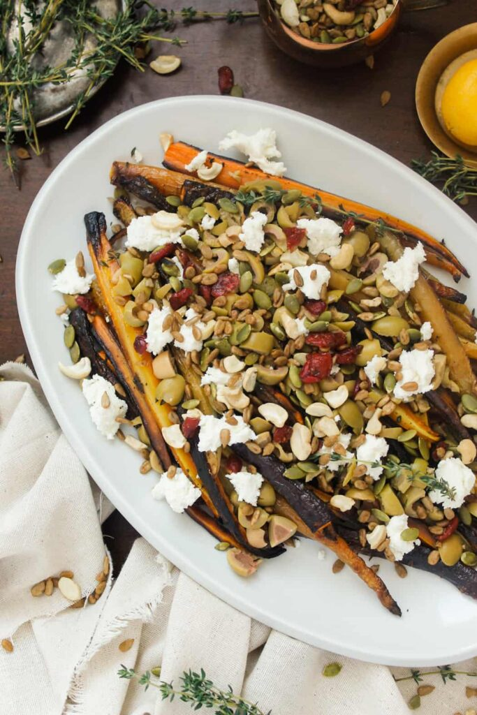Blog146_Img2_Middle Eastern roasted carrots with olives, harissa, preserved lemon and Natursource salad topper