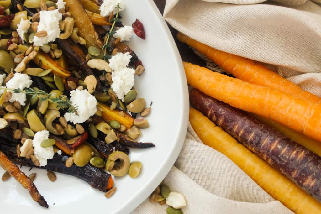 Blog146_Img6_Middle Eastern roasted carrots with olives, harissa, preserved lemon and Natursource salad topper