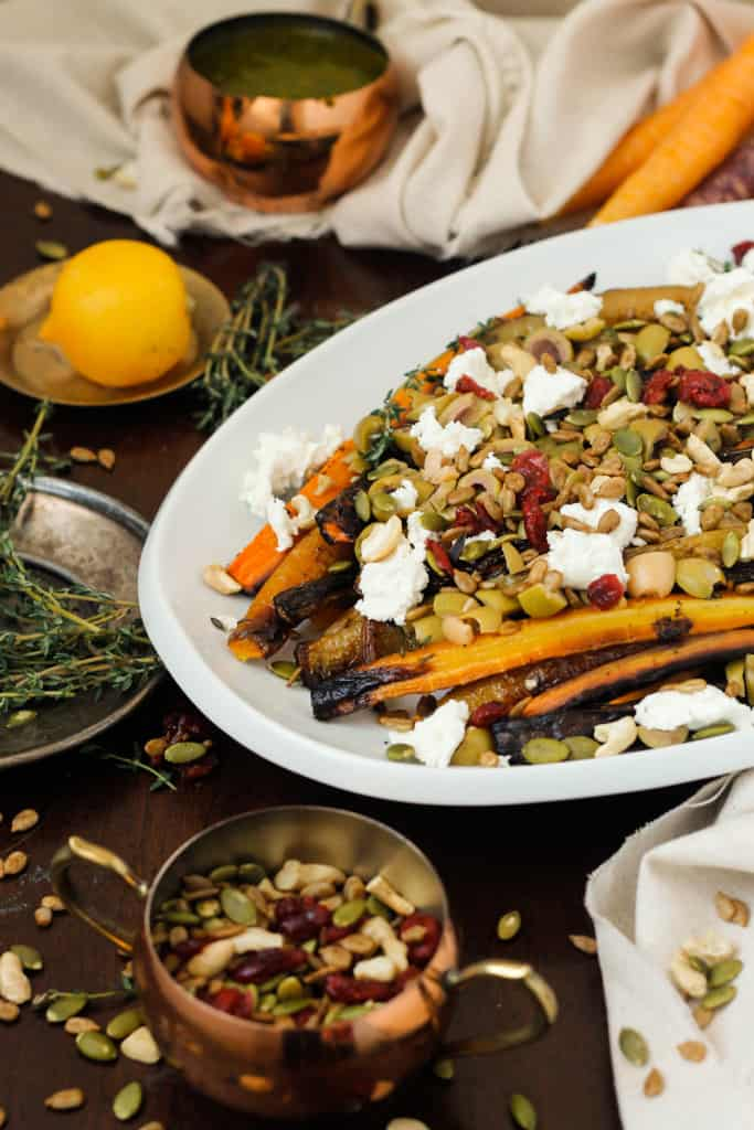 Blog146_Img7_Middle Eastern roasted carrots with olives, harissa, preserved lemon and Natursource salad topper
