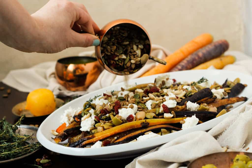 Blog146_Img9_Middle Eastern roasted carrots with olives, harissa, preserved lemon and Natursource salad topper