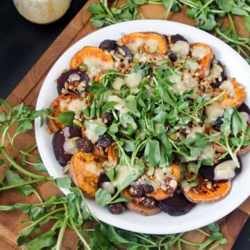 Sweet potato and beet salad with watercress and salad topper lite