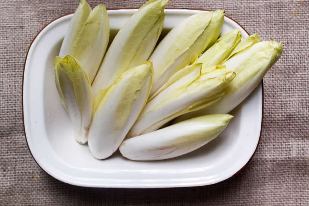 Studded with dried cranberries and pepitas & covered in a beautiful, tangy sauce, these endive spears with celery root remoulade are a great GF appetizer. Gluten-free, paleo, vegan option.