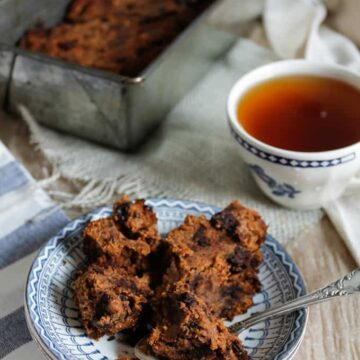 close up on banana bread with spoon