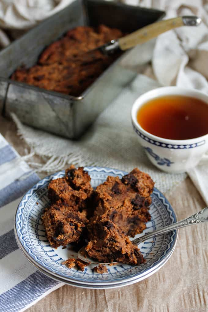 This chocolate paleo banana bread is dense but airy, and chock-full of banana goodness. Healthy enough for breakfast, sweet enough for dessert!