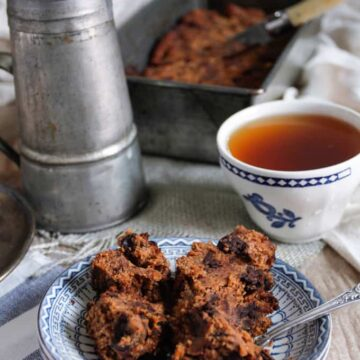close up on banana bread with tea in background
