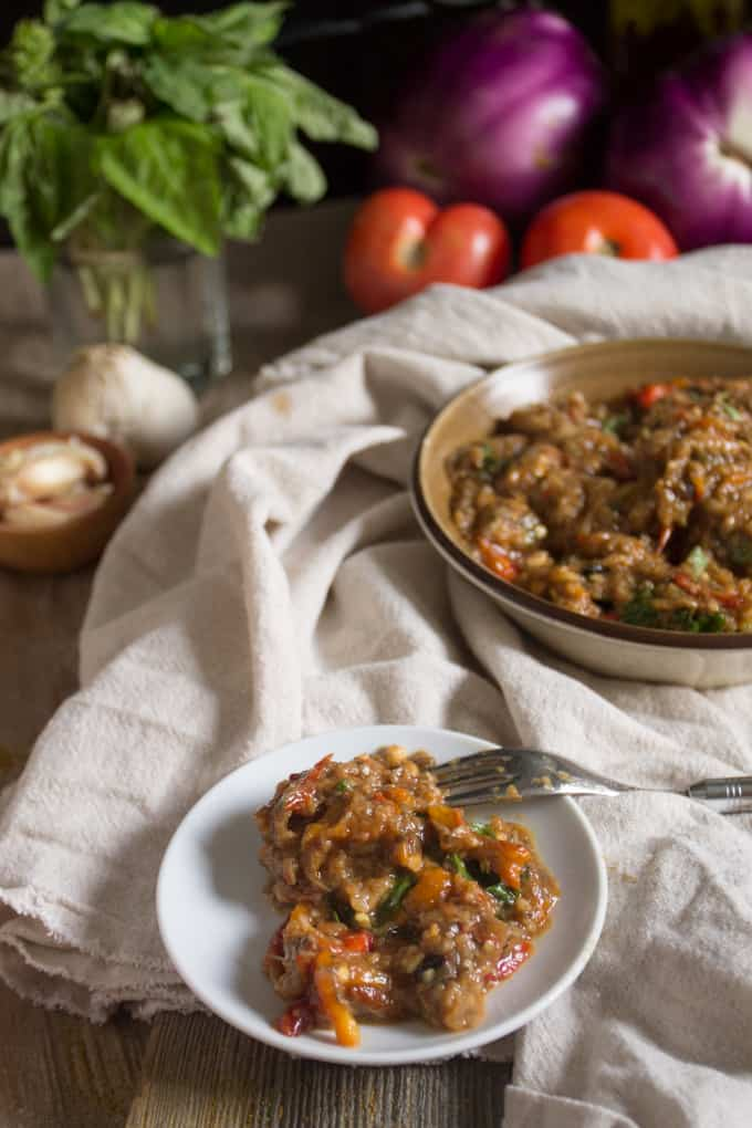 Scorched and roasted until blistering, eggplant caviar is a delicacy when mixed with Middle Eastern flavours like in this roasted eggplant salad duo.