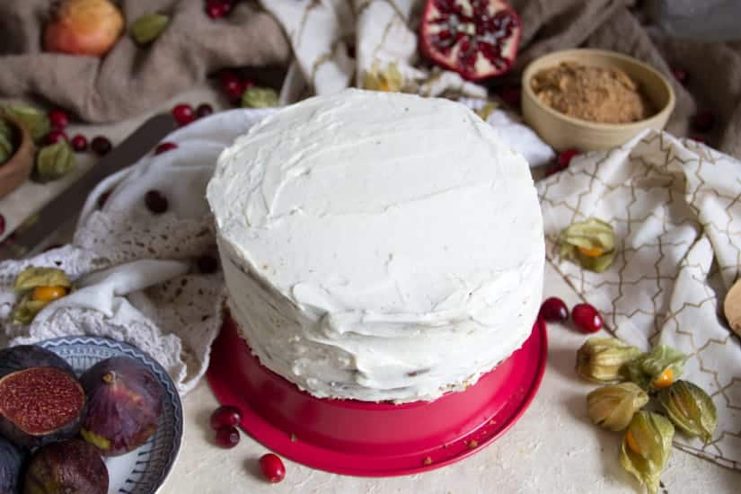 A gluten-free layered Russian fig and honey cake (medovik) - a scrumptious cake with layers of crispy thin pastry, decadent mascarpone cream and fresh fruit