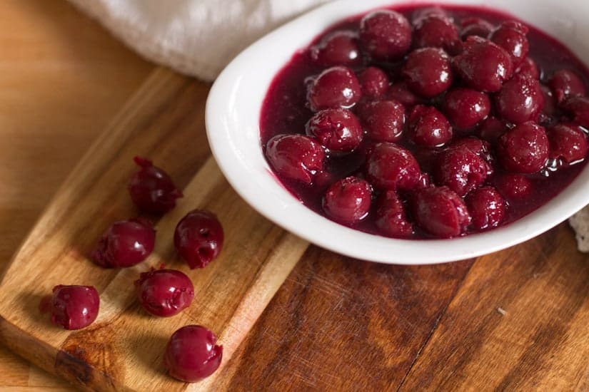 Tart and sweet Russian sour cherry sauce for blintzes, cake, pancakes, or just to eat with a spoon.